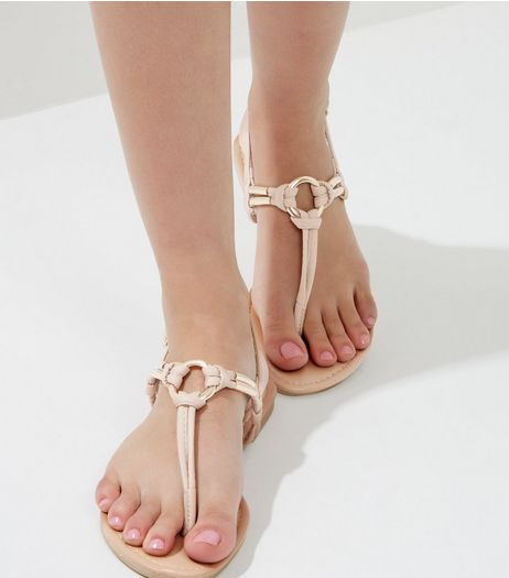 Cream Metallic Trim Knot Front Sandals | New Look