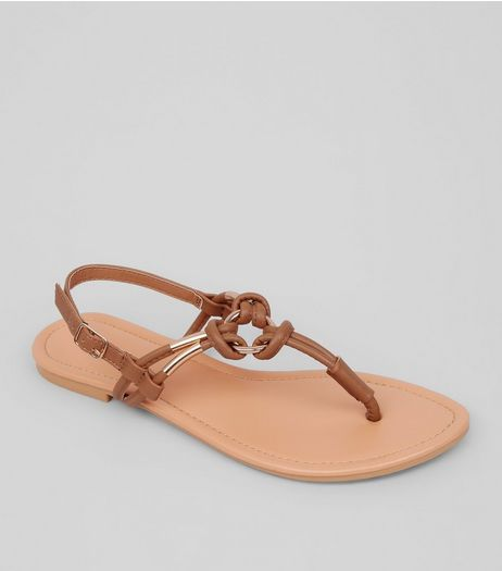 Tan Metal Ring Toe Post Sandals | New Look