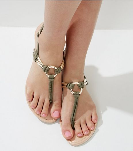 Khaki Suedette Metal Ring Toe Post Sandals | New Look