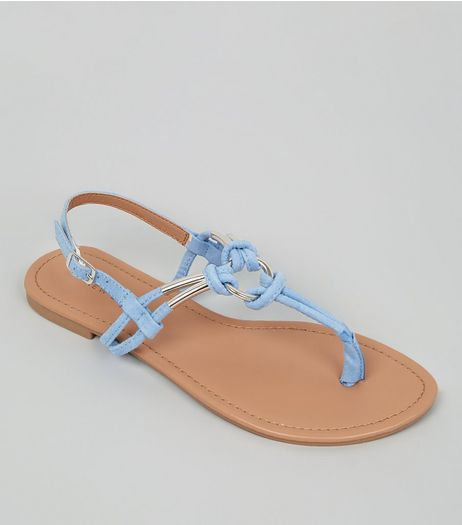 Pale Blue Metal Ring Toe Post Sandals | New Look