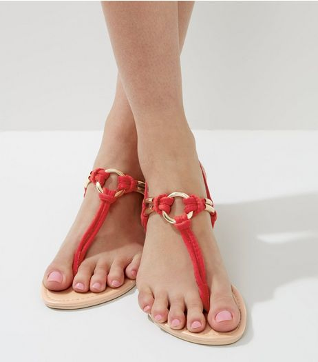 Red Metal Ring Toe Post Sandals | New Look