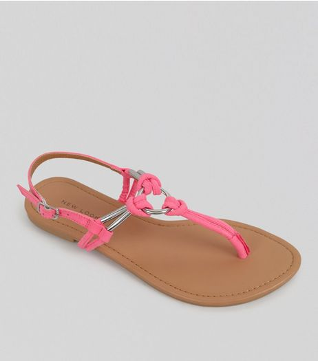 Pink Metal Ring Toe Post Sandals | New Look