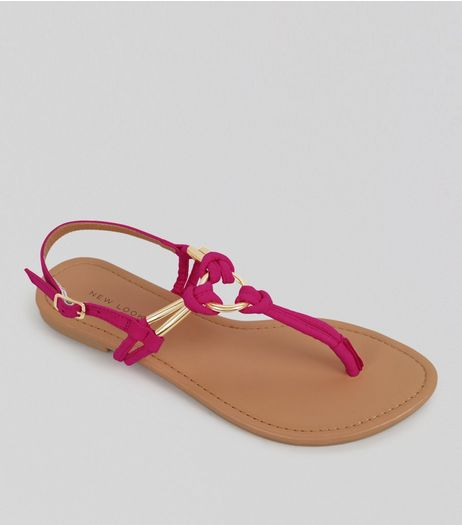 Bright Pink Metal Ring Toe Post Sandals | New Look