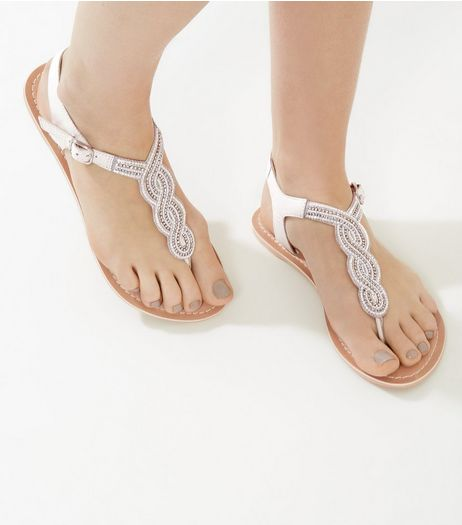 White Beaded Leather Sandals | New Look