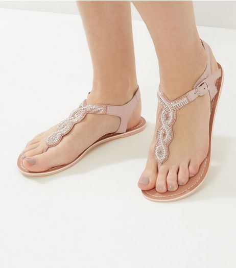 Nude Beaded Leather Sandals | New Look