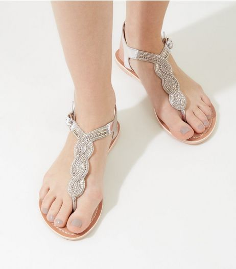Silver Beaded Leather Sandals | New Look