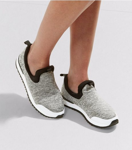Grey Slip On Contrast Sole Plimsolls | New Look