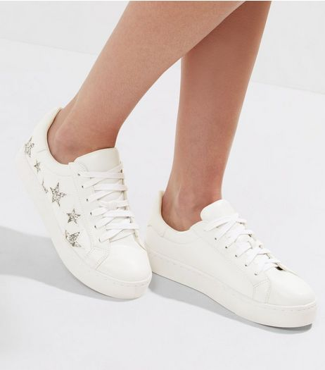 White Glitter Star Trainers | New Look