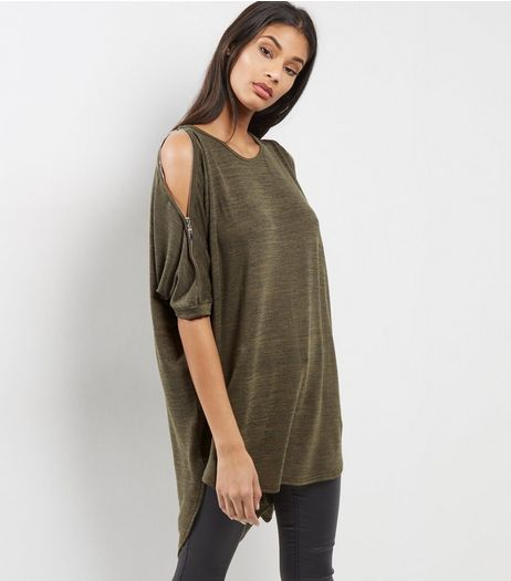 Khaki Zip Shoulder Batwing Sleeve Oversized Top | New Look