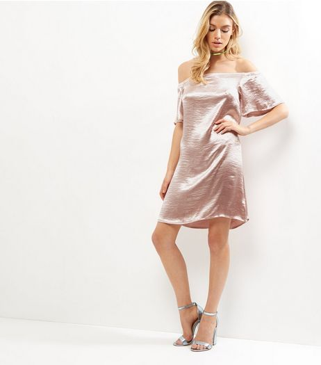 Parisian Shell Pink Sateen Bardot Neck Dress | New Look