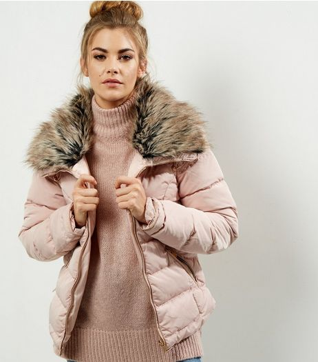 Parisian Pink Faux Fur Collar Padded Jacket  | New Look