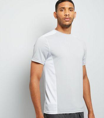 Pale Grey Panelled Running T-Shirt