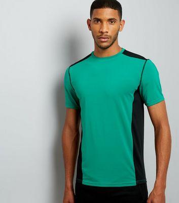 Green Panelled Running T-Shirt