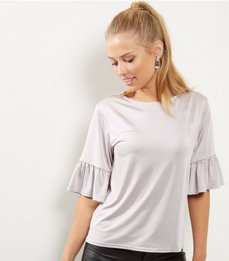 Pale Grey Bell Sleeve Top | New Look