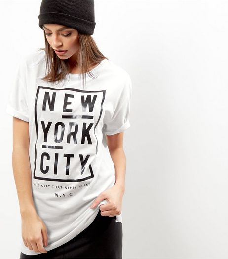 White NYC Foil Print Boyfriend T-shirt | New Look