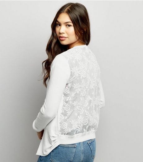 White Lace Back Cardigan | New Look