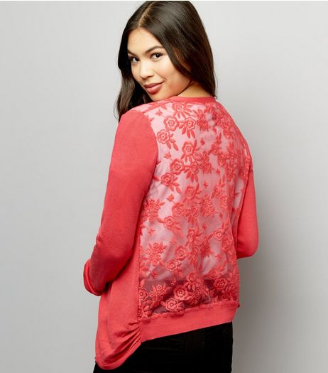 Bright Pink Lace Back Cardigan  | New Look