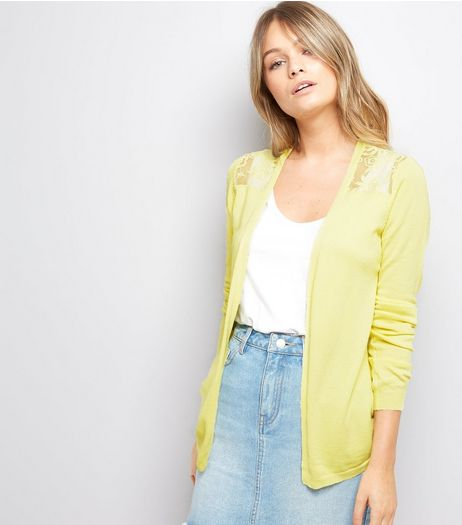 Yellow Lace Back Cardigan | New Look