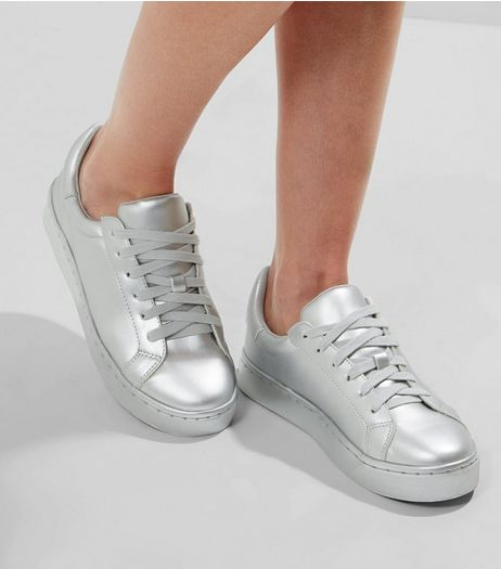 Silver Metallic Lace Up Trainers | New Look