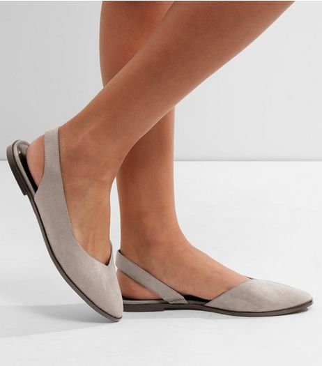 Grey Suedette Sling Back Pointed Pumps | New Look