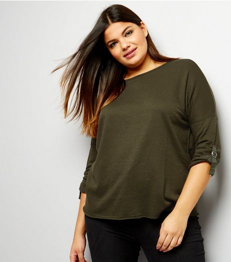 Curves Khaki D Ring Sleeve Sweater | New Look