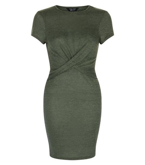 Teens Khaki Twist Front Bodycon Dress | New Look