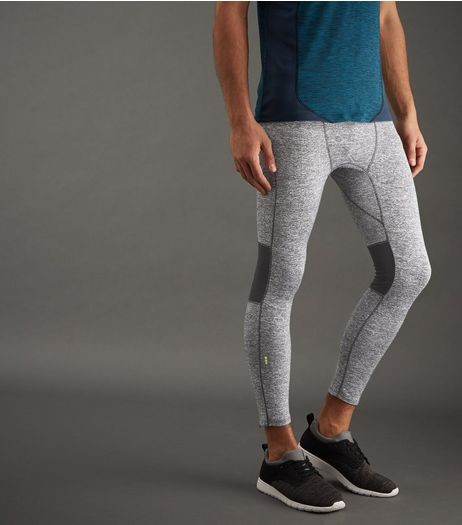 Grey Marl Mesh Panel Technical Running Tights | New Look