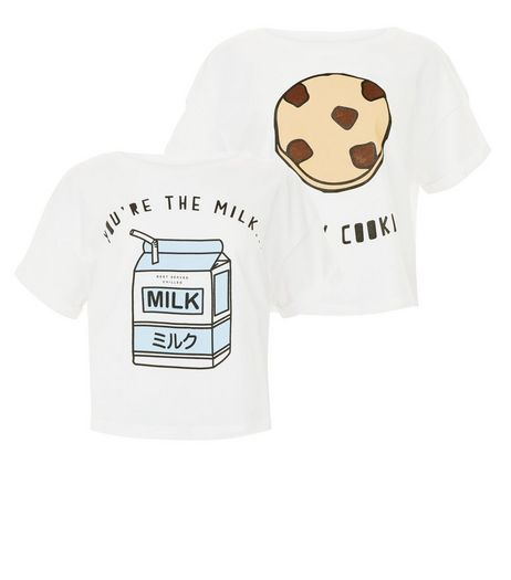 Teens 2 Pack White Cookie And Milk T-shirts | New Look