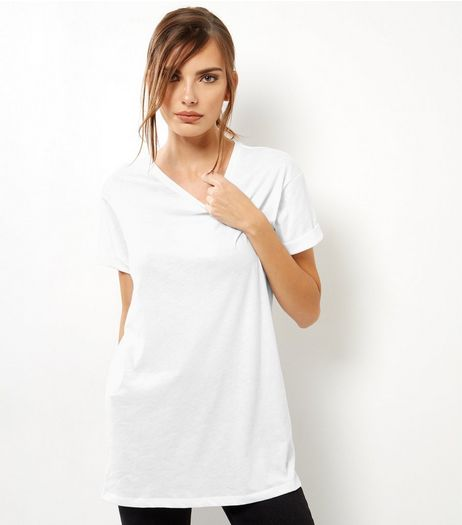 White Roll Sleeve Boyfriend T-Shirt  | New Look