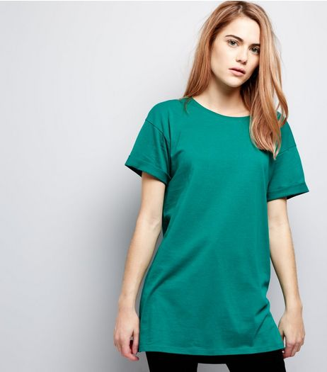 Green Rolled Sleeve Boyfriend T-shirt | New Look