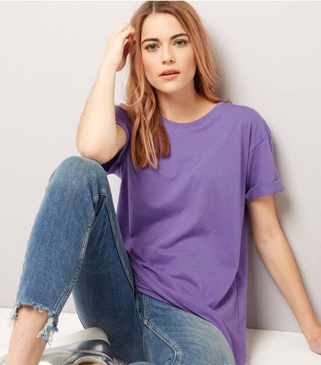 Purple Rolled Sleeve Boyfriend T-shirt | New Look