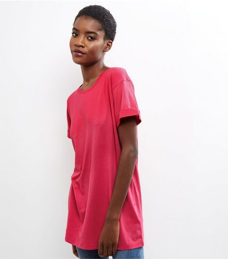 Pink Roll Sleeve Boyfriend T-Shirt | New Look
