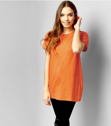 Orange Roll Sleeve Boyfriend T-Shirt | New Look