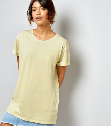 Yellow Roll Sleeve Boyfriend T-Shirt  | New Look