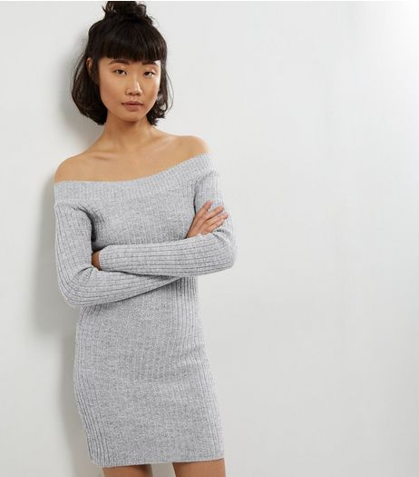Mela Grey Bardot Neck Knitted Dress | New Look