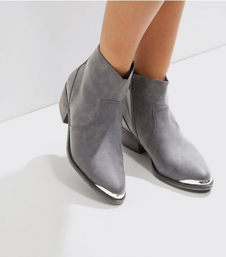Grey Metal Trim Western Boots | New Look