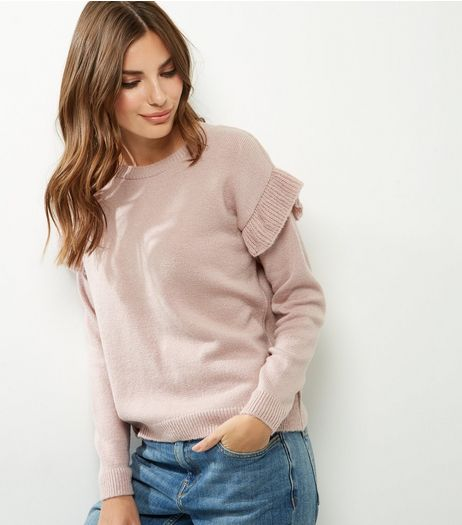 Shell Pink Frill Trim Jumper | New Look