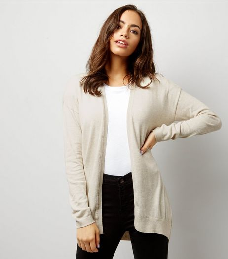 Stone Cut Out Back Cardigan  | New Look