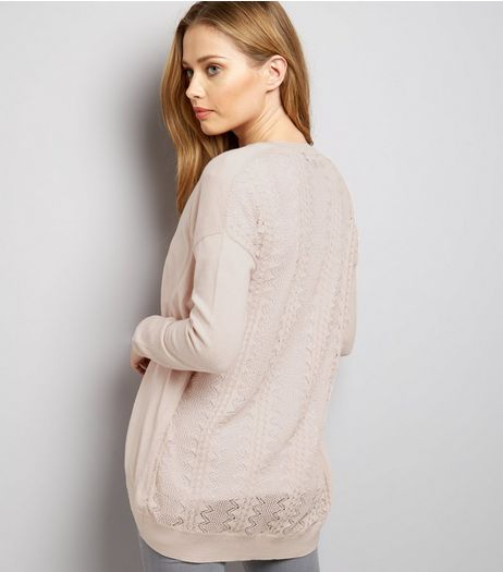 Shell Pink Lace Back Longline Cardigan | New Look
