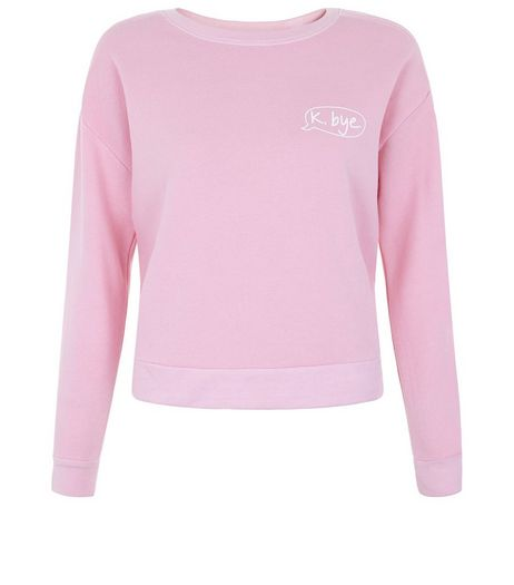 Teens Pink K Bye Slogan Cotton Sweater | New Look