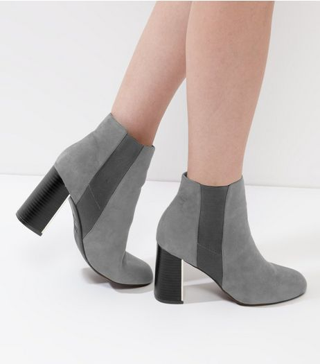 Grey Suedette Flared Metal Heel Trim Chelsea Boots | New Look