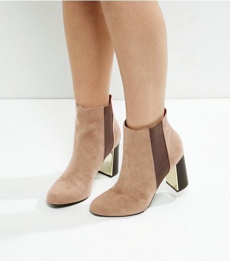 Tan Suedette Metallic Trim Flared Heel Chelsea Boots | New Look