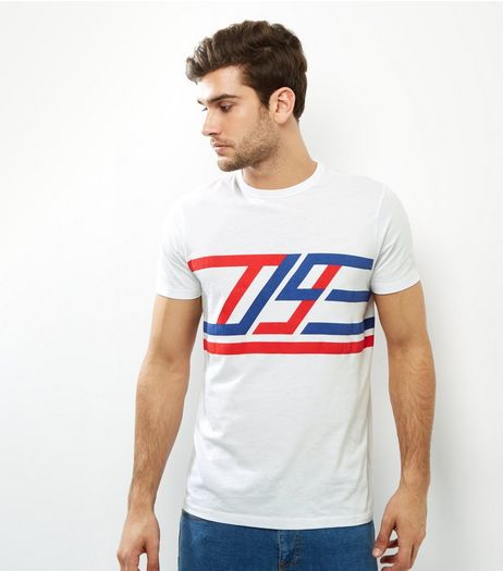 White 09 Racing Stripe T-Shirt | New Look