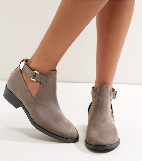 Grey Suedette Cut Out Ankle Boots | New Look
