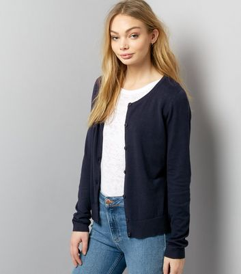 Navy Crew Neck Cardigan