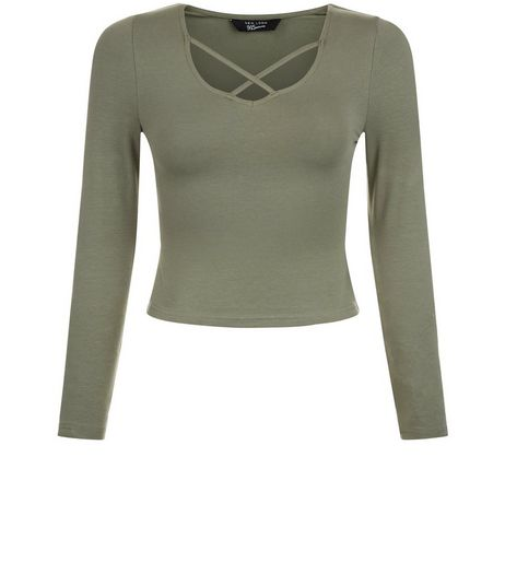 Teens Khaki Cross Strap Front Long Sleeve Top | New Look