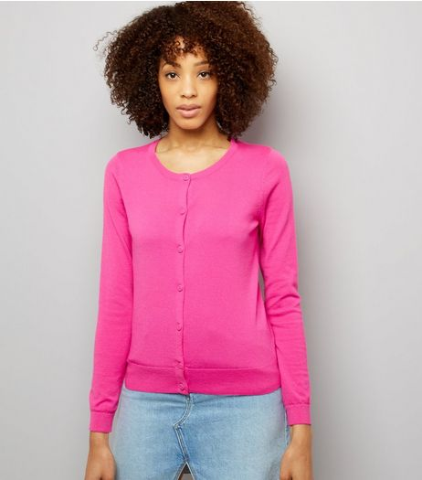 Bright Pink Crew Neck Cardigan | New Look