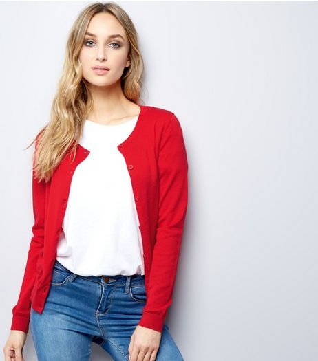 Red Crew Neck Cardigan  | New Look