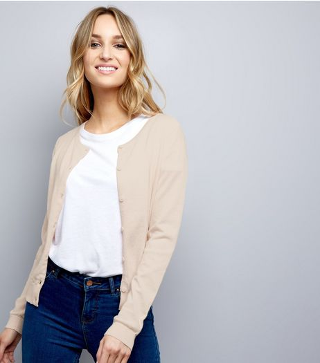 Shell Pink Crew Neck Cardigan  | New Look