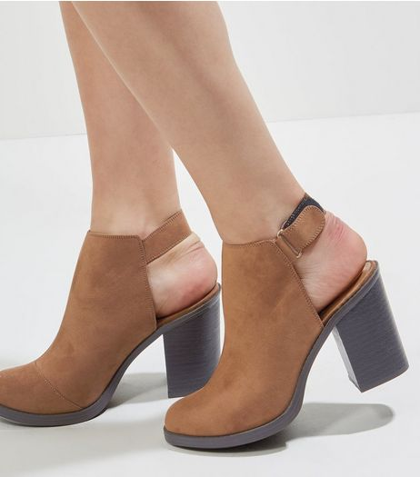 Tan Suedette Open Back Ankle Boots | New Look